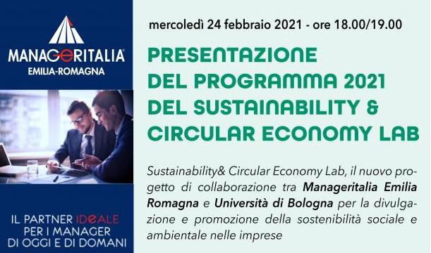 """Presentazione del programma relativo al progetto """"Sustainability & Circular Economy Lab""""per il 2021 di Manageritalia Emilia Romagna"""
